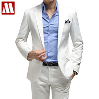Men's clothing business suit men's blazer man pants slim fit white suits quality solid colour suit set