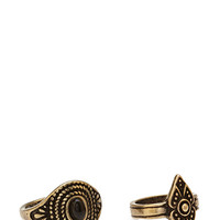 FOREVER 21 Etched Midi Ring Set Burnished Gold