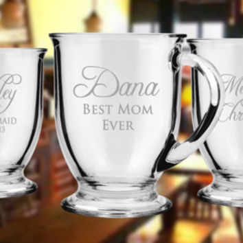 THREE Personalized Custom Etched Glass Mug Coffee Mug Etched Glass Engraved Glass Mug Glassware Tea