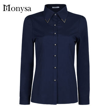 Ladies Office Shirts 2016 Autumn New Fashion Sequined Collar Long Sleeve Women Blouses Womens Tops Yellow Blue Purple Pink White