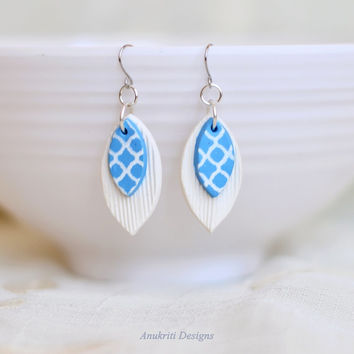 Polymer clay earrings - Boho dangle earrings - Unique gifts for women - Hypoallergenic earrings - White blue leaf earrings - Artisan jewelry