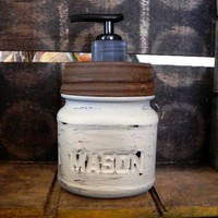Upcycled Cream Color 8 oz Distressed Square Mason Jar Soap Dispenser