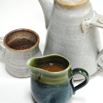 Pottery creamer,Pouring jug,blue green clay jug,Pottery gravy boat,wheel thrown creamer,small clay pitcher,clay milk pitcher,