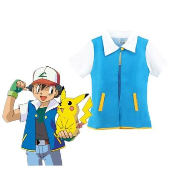 Anime Pokemon Ash Ketchum Trainer Costume Jacket Adult  short sleeve Coat Cosplay for man and woman
