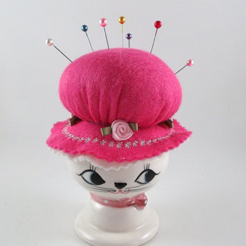 Handmade Pincushion with Recycle Upcycle Vintage Candle Holder Base Felt and Porcelain Pin Cushion Cat with a Hat Pincushion