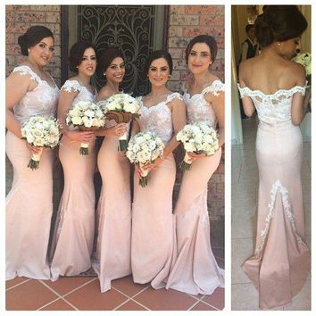 Sexy 2016 vestido longo de festa Mermaid Cap sleeve Appliques Lace Pink Long Bridesmaid Dresses for women