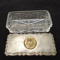 Vintage Cut Glass Trinket Box with Metal Lid, Rectangular Glass Trinket Box with Brass Owl