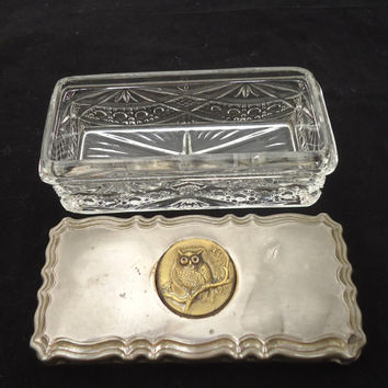 Jewelry Art Deco Bohemian Amber Cut To Clear Crystal Trinket Vanity Box #1