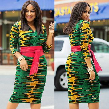 Colorful Print Bodycon Dress with Contrast Belt