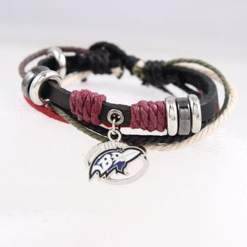 Baltimore Ravens Genuine Leather Adjustable Bracelet Wristband Cuff  Black Leather With Cord Beads Charm Bracelet
