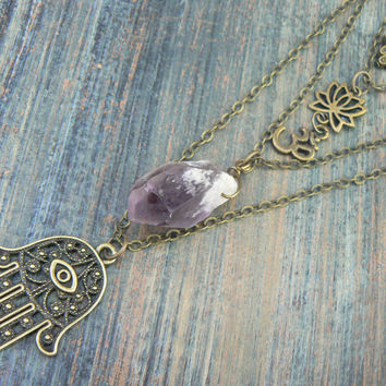 Instant layered boho necklace spiritual layered necklace zen necklace buddha necklace quartz pendant ohm necklace in yoga boho gypsy style