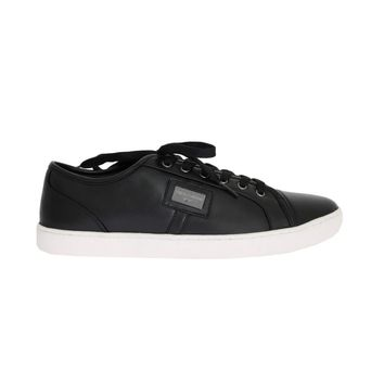Dolce & Gabbana Black Leather Sport Gym Casual Sneakers