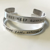 Runner cuff bracelet -- custom, personalized -- just keep running -- stength in your feet, courage in your lungs -- jewelry gift for runner