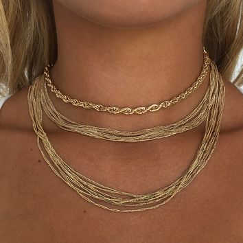 Rachel Gold Layered Choker Necklace