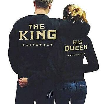 2016 Couple Hoodies Fashion Casual Long Sleeves King Queen Printed Men And Women Crewneck Pullover Couples Lovers  Sweatshirts