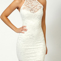 White Floral Lace Sleeveless Mini Dress