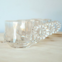 Hazel Atlas Orchard Crystal Punch Cups Beaded Handles Set of 4