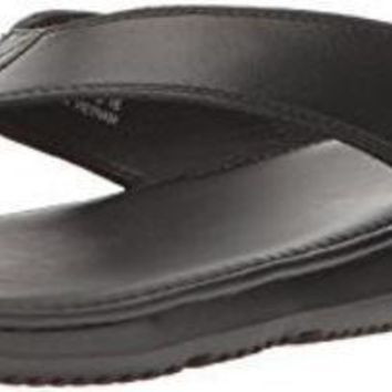 ESBON Cole Haan Men's Bristol Sandal Flip-Flop, Black Leather, 10 Medium US