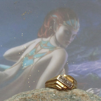 Djinn Ring~Marid MERMAID Princess~ Ring~Powerful AMULET of wealth~Genuine Vintage magic Ring.Solid gold and Diamond