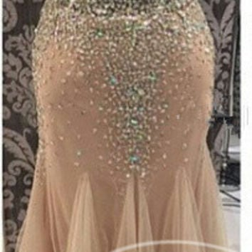 2015 Sexy Halter V-Neck Mermaid Prom Dress Champagne Tulle vestido de festa Prom Dresses Special Backless Crystal Occasion Dress