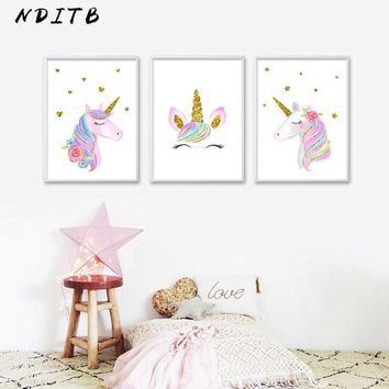 Kawaii Cartoon Unicorn Watercolor Poster Nursery Wall Art Canvas Print Painting Nordic Decoration Wall Picture for Baby Bedroom