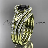 14k yellow gold diamond leaf wedding ring with a Black Diamond Moissanite center stone and double matching band ADLR317S