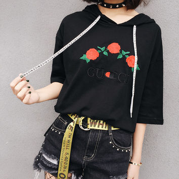 GUCCI Fashion three rose embroidery short sleeve T-shirt women top blouse Tee Hoodie pullover
