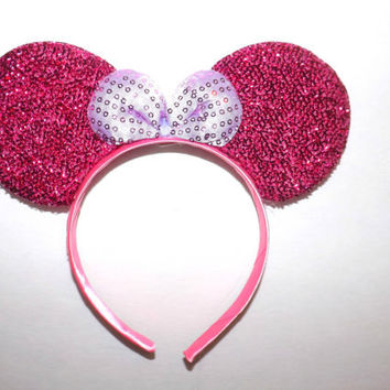 Minnie Mouse Ears Headband Pink Sparkle White Bow Mickey Mouse Ears, Disneyland, Disney World