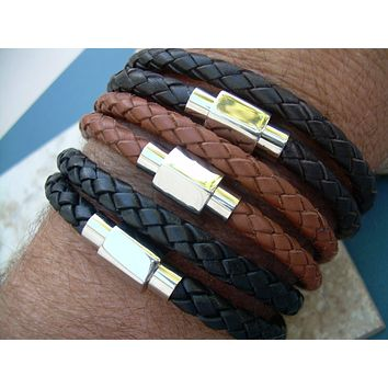 Men's Bracelets Leather, Double Wrap Braided Leather Bracelet with Stainless Steel Magnetic Clasp, Mens Jewelry, Mens Bracelet, Leather