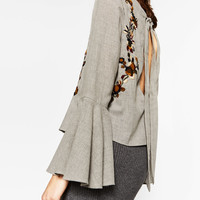 EMBROIDERED FRILLED SLEEVE BLOUSEDETAILS