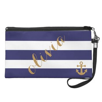 Classic Stripes with Nautical Design Anchor & Name Wristlet