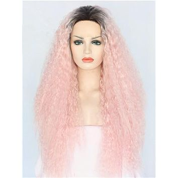 Long Light Warm Pink Kinky Curly Ombre Synthetic Lace Front Wig