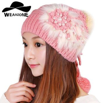 2016autumn Winter Warm Hot Sale Female Girl Women Knitted Faux Fur Flower Skullies Beanies Cap Hat Fashion Accessories