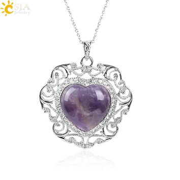 CSJA Rhinestone Beads Luxury Pendant Chain Necklace Real Natural Love Pink Purple Crystal Stone Quartz Women Men Jewellery E491