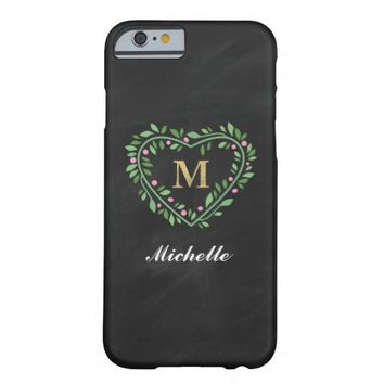 MONOGRAM FLORAL HEART PHONE CASE | LETTER M BARELY THERE iPhone 6 CASE