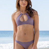 Bettinis - Keyhole Twisted Back Halter Top | Stripe Nude