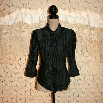 Dressy Black Blouse Silk 3/4 Sleeve Crinkle Ruffled Button Up Shirt Metallic Goth Top Black Top Black Blouse Medium Blouses Womens Clothing