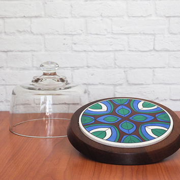Vintage 1970s Cheese Cloche, Domed Cheese Tray, Tile and Walnut Tray with Glass Dome, Mod Kitchen