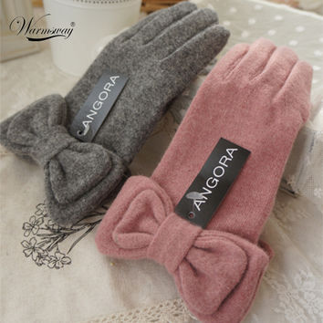 2016 New Winter Angora wool gloves for women elegant ladies Bow Thick Soft Warm cashmere driving Gloves pink grey gift WG-005