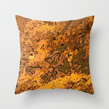Autumn leaves Throw Pillow by Taoteching / C4Dart