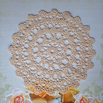 Exclusive Design Crochet Doily - Gorgeous and intricate lace round fine cotton peachy-ivory doily, unique gift idea, beautiful home decor