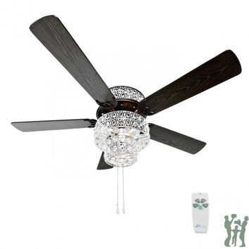 Silver Punched Metal and Clear Crystal Ceiling Fan by River of Goods Item: 16554S