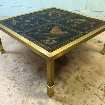 Brass Asian Paint Decorated style Coffee Table by Design Institute of America