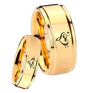 His Her Glossy Step Edges Music & Heart 14K Gold IP Tungsten Wedding Rings Set