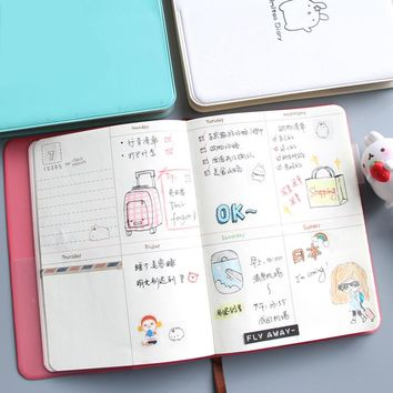 Cute Diary Any Year Planner Pocket Journal Kawaii Notebook Agenda Scheduler Memo 4 Colors Korean Style Gift