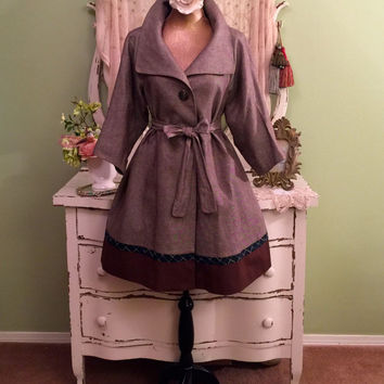 Haute Couture Coat, Brown Linen Coat, 50s Style Trench, Swing Coat, Princess Coat, Hollywood Glam, High Fashion Coat, Womens Size Medium