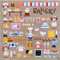 """Mini Bakery"" Counted cross stitch chart. Bake, kitchen SODAstitch SO-3129"