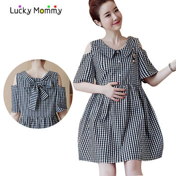 2017 Summer Black Bow Tie Maternity Plaid Dress for Pregnant Women Casual Pregnancy Clothing Short Sleeve Maternity Clothes