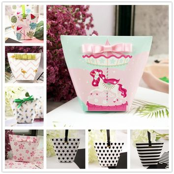 100pcs/50ps Creative Flamingo/Unicorn Candy Boxes Baby Shower Birthday /wedding Gift Box Party Favors Package Carton Box+Ribbon