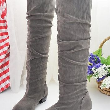 New Women Grey Round Toe Chunky Pleated Casual Knee-High Boots